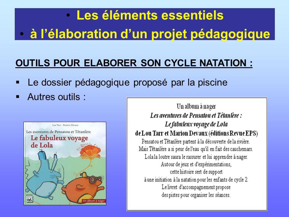 Les éléments essentiels à lélaboration dun projet pédagogique OUTILS POUR ELABORER SON CYCLE NATATION : Le dossier pédagogique proposé par la piscine