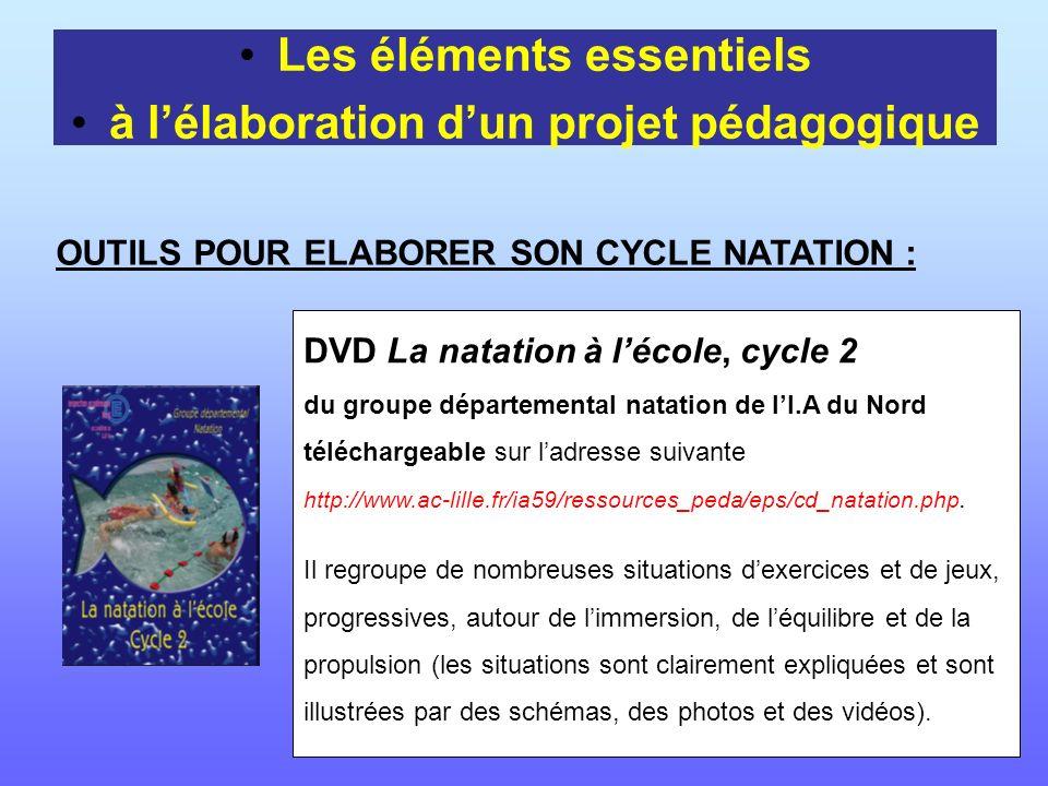 Les éléments essentiels à lélaboration dun projet pédagogique OUTILS POUR ELABORER SON CYCLE NATATION : DVD La natation à lécole, cycle 2 du groupe dé