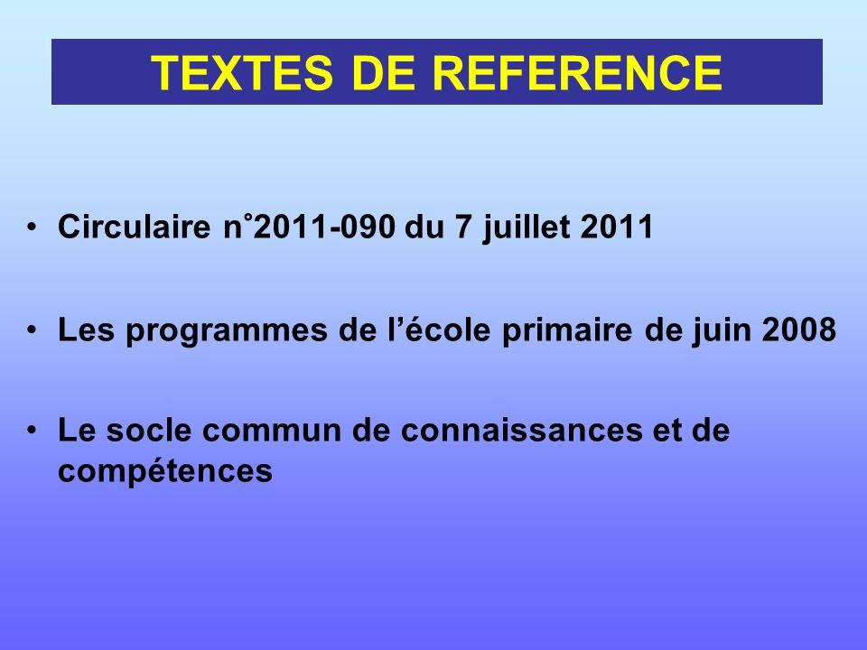 Circulaire n°2011-090 du 7 juillet 2011 Les programmes de lécole primaire de juin 2008 Le socle commun de connaissances et de compétences TEXTES DE RE