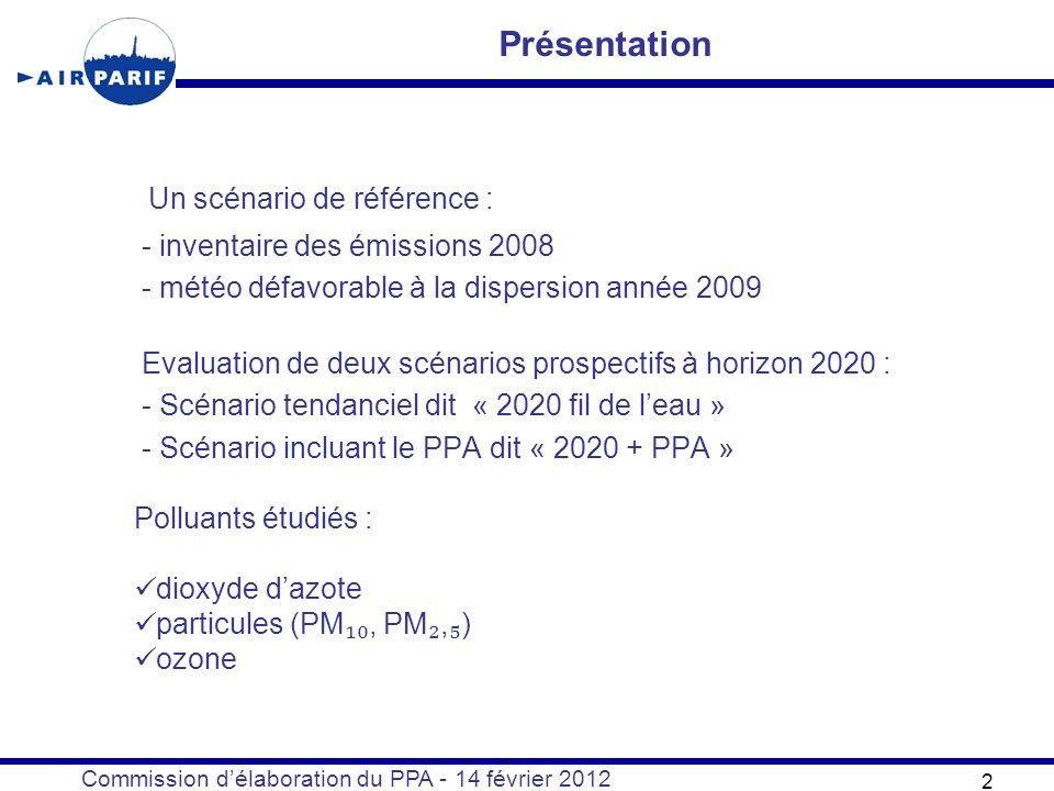 Commission délaboration du PPA - 14 février 2012 Un scénario de référence : - inventaire des émissions 2008 - météo défavorable à la dispersion année 2009 Evaluation de deux scénarios prospectifs à horizon 2020 : - Scénario tendanciel dit « 2020 fil de leau » - Scénario incluant le PPA dit « 2020 + PPA » 2 Présentation Polluants étudiés : dioxyde dazote particules (PM, PM, ) ozone