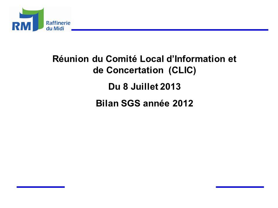 Réunion du Comité Local dInformation et de Concertation (CLIC) Du 8 Juillet 2013 Bilan SGS année 2012