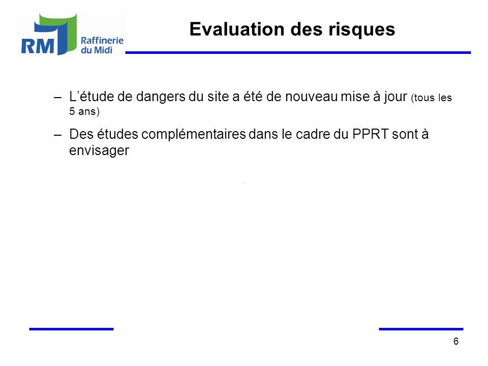 6 Evaluation des risques –Létude de dangers du site a été de nouveau mise à jour (tous les 5 ans) –Des études complémentaires dans le cadre du PPRT so