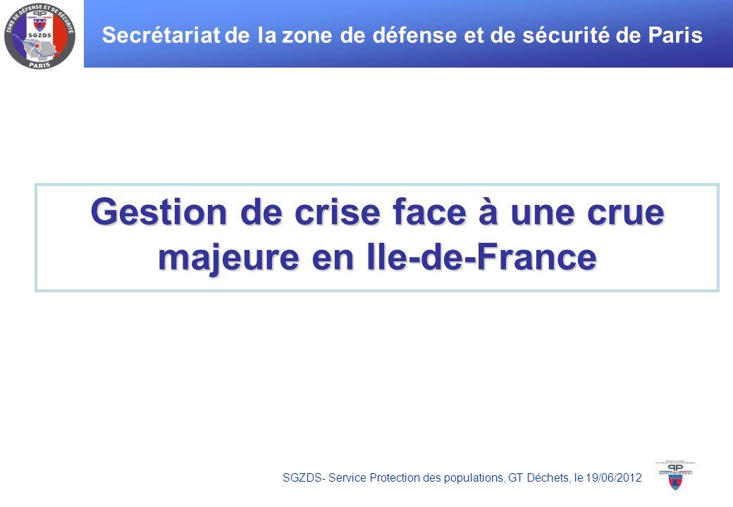 SGZDS- Service Protection des populations, GT Déchets, le 19/06/2012 Gestion de crise face à une crue majeure en Ile-de-France Secrétariat de la zone