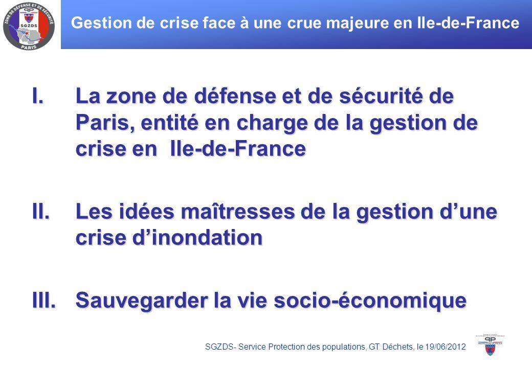 SGZDS- Service Protection des populations, GT Déchets, le 19/06/2012 Gestion de crise face à une crue majeure en Ile-de-France I.La zone de défense et