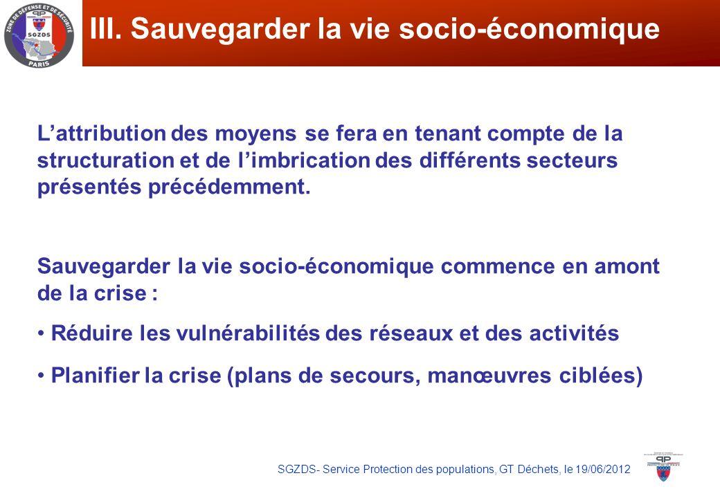 SGZDS- Service Protection des populations, GT Déchets, le 19/06/2012 III. Sauvegarder la vie socio-économique Lattribution des moyens se fera en tenan