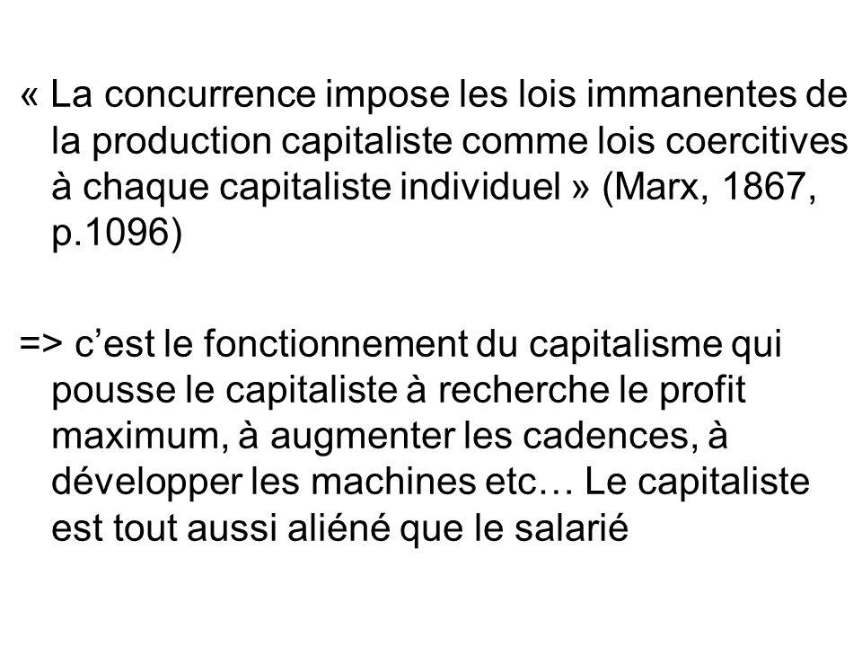 « La concurrence impose les lois immanentes de la production capitaliste comme lois coercitives à chaque capitaliste individuel » (Marx, 1867, p.1096)