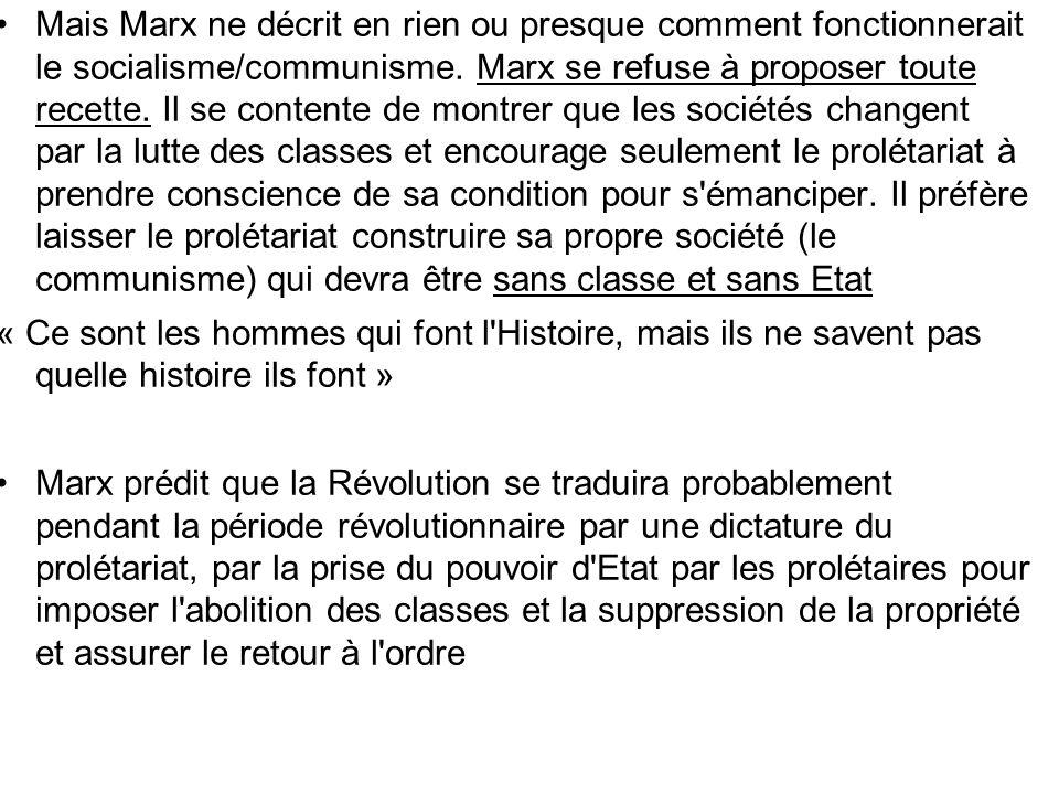 Mais Marx ne décrit en rien ou presque comment fonctionnerait le socialisme/communisme. Marx se refuse à proposer toute recette. Il se contente de mon