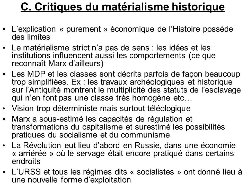 C. Critiques du matérialisme historique Lexplication « purement » économique de lHistoire possède des limites Le matérialisme strict na pas de sens :