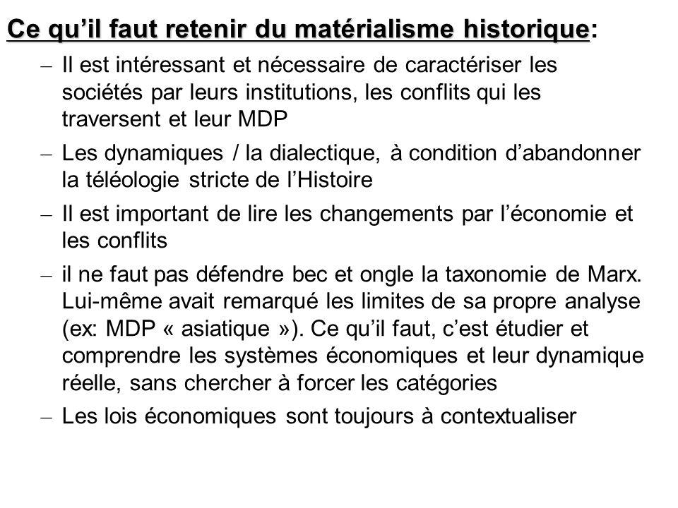 Ce quil faut retenir du matérialisme historique Ce quil faut retenir du matérialisme historique: – Il est intéressant et nécessaire de caractériser le