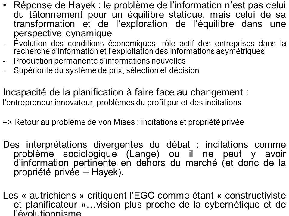 Réponse de Hayek : le problème de linformation nest pas celui du tâtonnement pour un équilibre statique, mais celui de sa transformation et de lexplor