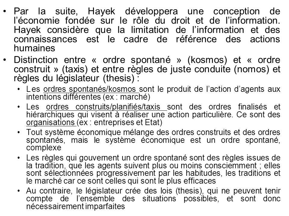 Par la suite, Hayek développera une conception de léconomie fondée sur le rôle du droit et de linformation. Hayek considère que la limitation de linfo