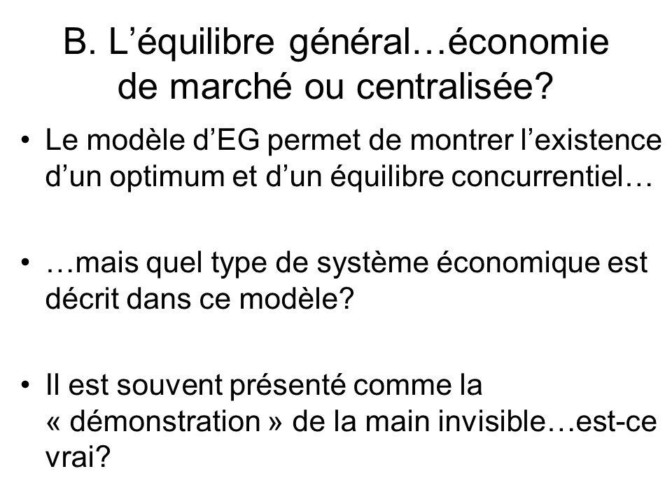 B. Léquilibre général…économie de marché ou centralisée? Le modèle dEG permet de montrer lexistence dun optimum et dun équilibre concurrentiel… …mais