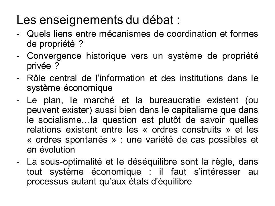 Les enseignements du débat : -Quels liens entre mécanismes de coordination et formes de propriété ? -Convergence historique vers un système de proprié