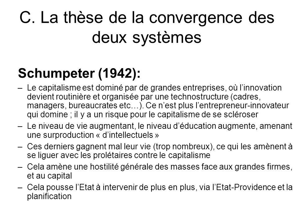 C. La thèse de la convergence des deux systèmes Schumpeter (1942): –Le capitalisme est dominé par de grandes entreprises, où linnovation devient routi