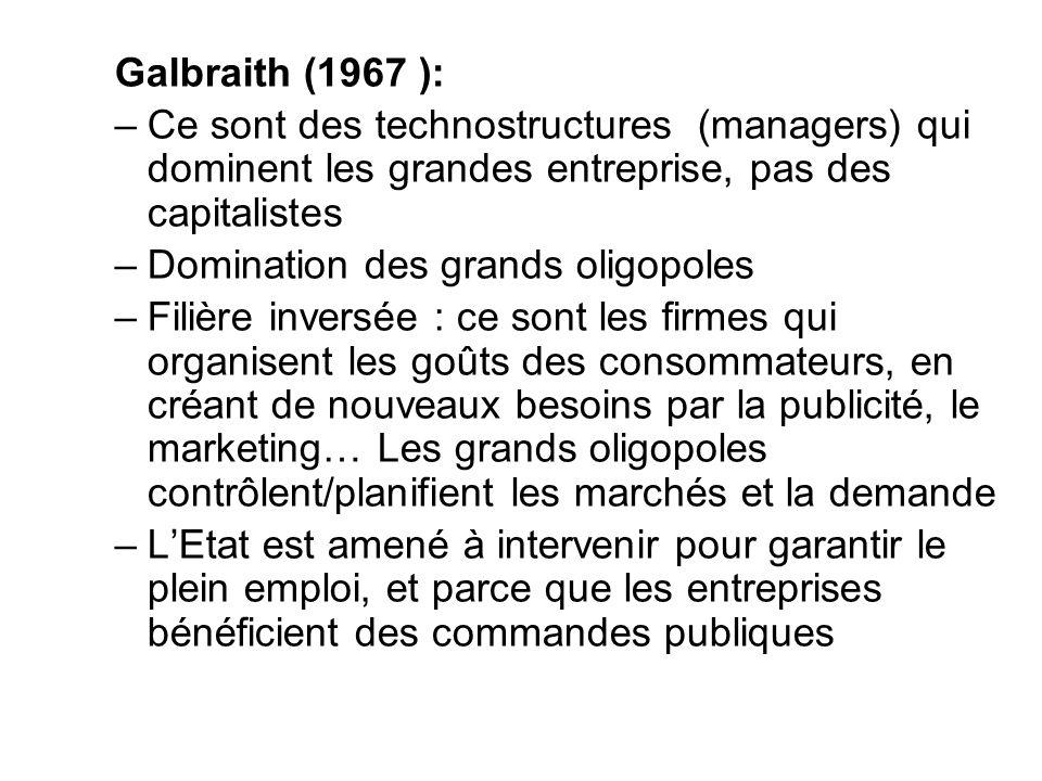 Galbraith (1967 ): –Ce sont des technostructures (managers) qui dominent les grandes entreprise, pas des capitalistes –Domination des grands oligopole
