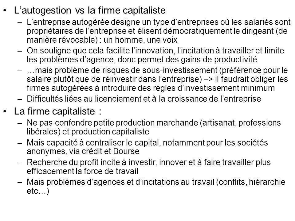 Lautogestion vs la firme capitaliste –Lentreprise autogérée désigne un type dentreprises où les salariés sont propriétaires de lentreprise et élisent