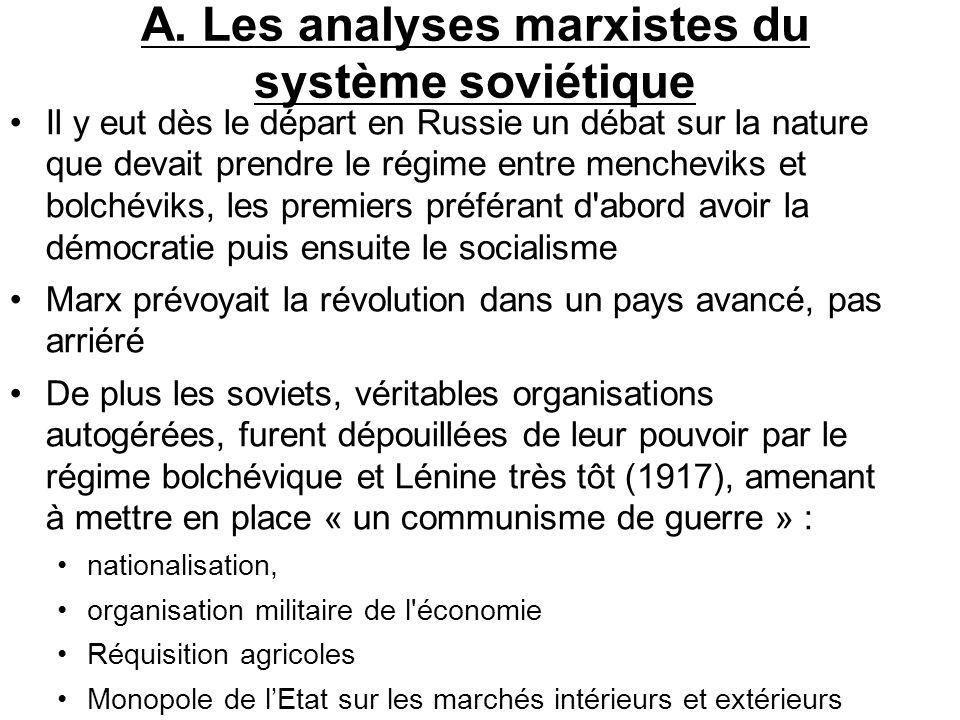 A. Les analyses marxistes du système soviétique Il y eut dès le départ en Russie un débat sur la nature que devait prendre le régime entre mencheviks