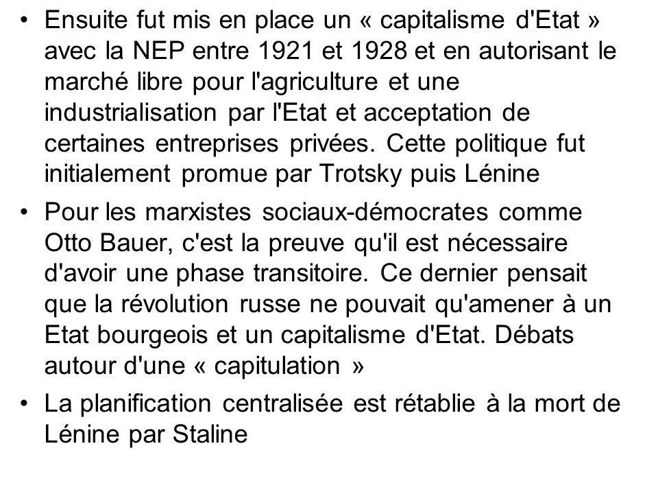 Ensuite fut mis en place un « capitalisme d'Etat » avec la NEP entre 1921 et 1928 et en autorisant le marché libre pour l'agriculture et une industria