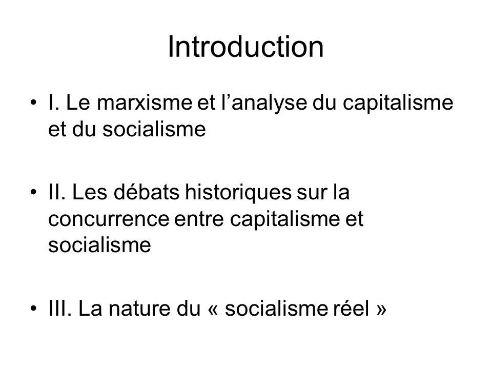 Introduction I. Le marxisme et lanalyse du capitalisme et du socialisme II. Les débats historiques sur la concurrence entre capitalisme et socialisme