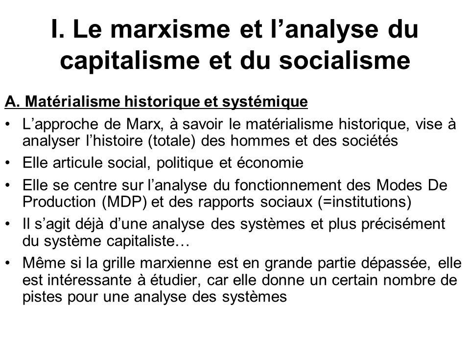 Les crises : –La loi de la baisse tendancielle du taux de profit et les crises de surproduction : la concurrence pousse au progrès technique et à la substitution du capital variable par du capital constant, amenant la hausse de la composition organique du capital et la baisse du taux de profit –Le MPC sajuste via les crises qui entraînent centralisation/socialisation/dévalorisation du capital, ce qui lamène à être de plus en plus socialisé –…mais ce dépassement du capitalisme par lui- même butera toujours (selon Marx) sur sa contradiction fondamentale (la propriété privée) qui lamènera à sa chute