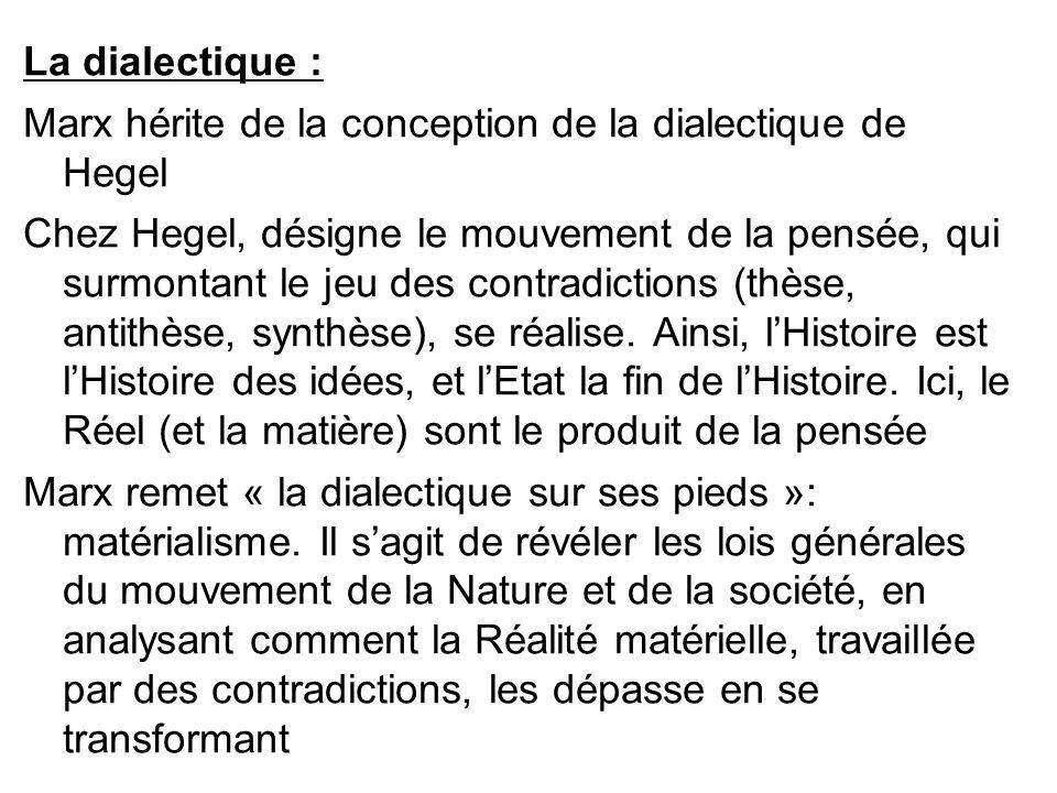 La dialectique : Marx hérite de la conception de la dialectique de Hegel Chez Hegel, désigne le mouvement de la pensée, qui surmontant le jeu des cont