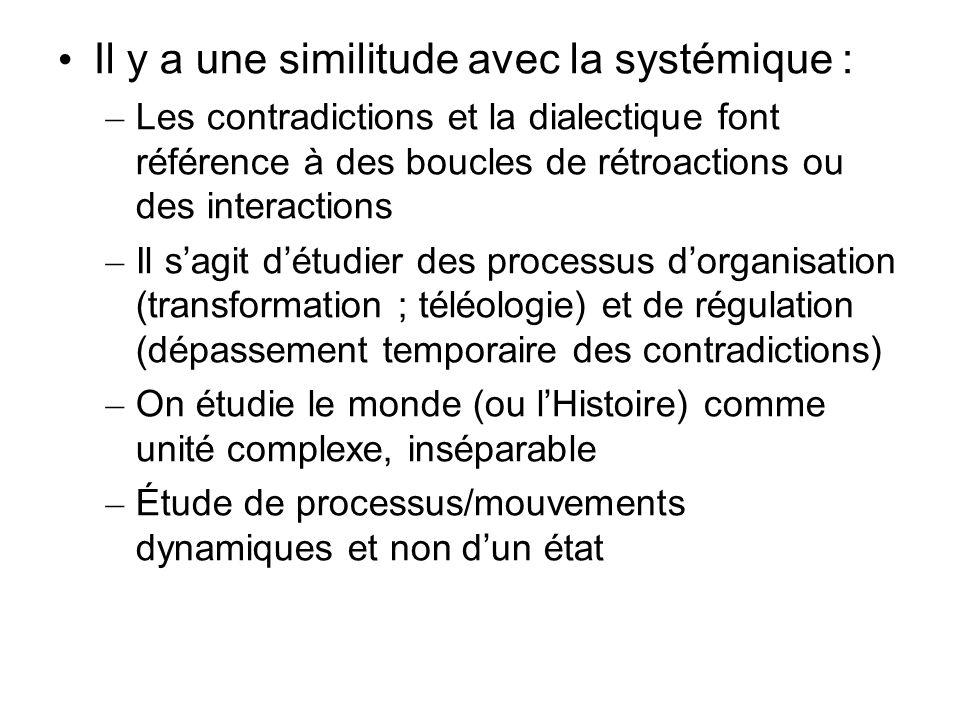 Il y a une similitude avec la systémique : – Les contradictions et la dialectique font référence à des boucles de rétroactions ou des interactions – I