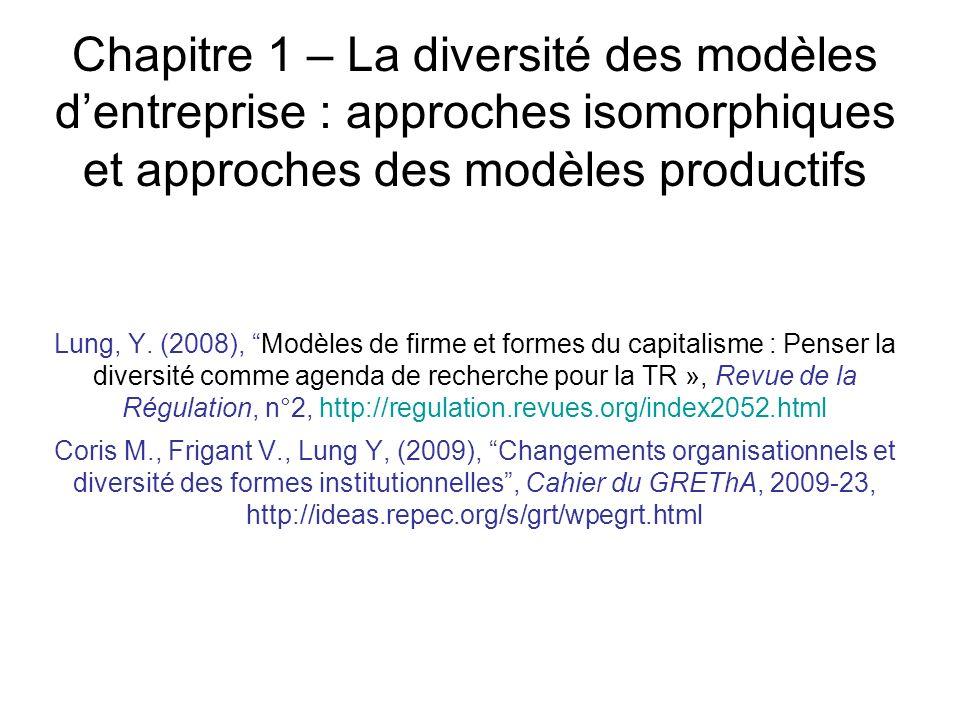 Chapitre 1 – La diversité des modèles dentreprise : approches isomorphiques et approches des modèles productifs Lung, Y. (2008), Modèles de firme et f
