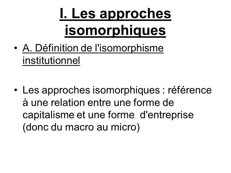 I. Les approches isomorphiques A. Définition de l'isomorphisme institutionnel Les approches isomorphiques : référence à une relation entre une forme d