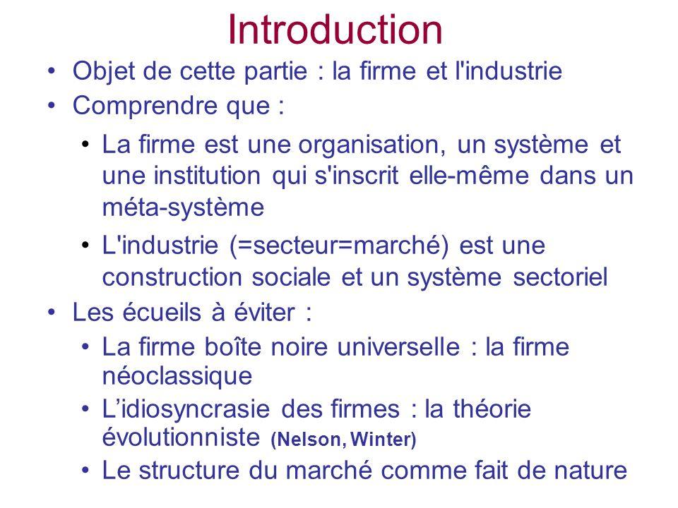 Introduction Objet de cette partie : la firme et l'industrie Comprendre que : La firme est une organisation, un système et une institution qui s'inscr