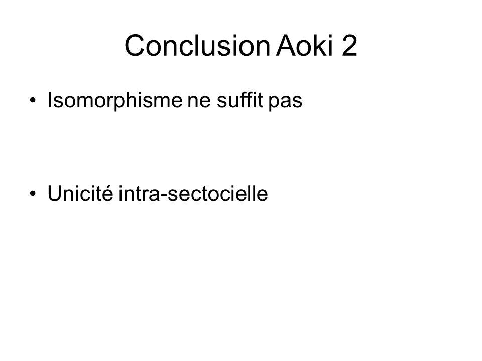Conclusion Aoki 2 Isomorphisme ne suffit pas Unicité intra-sectocielle