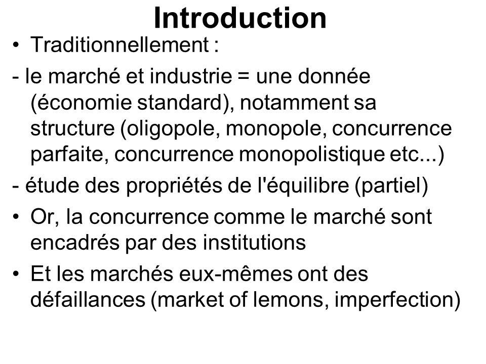 Introduction Traditionnellement : - le marché et industrie = une donnée (économie standard), notamment sa structure (oligopole, monopole, concurrence