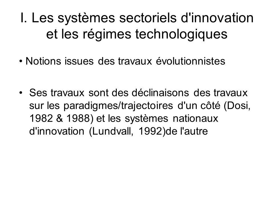 I. Les systèmes sectoriels d'innovation et les régimes technologiques Notions issues des travaux évolutionnistes Ses travaux sont des déclinaisons des