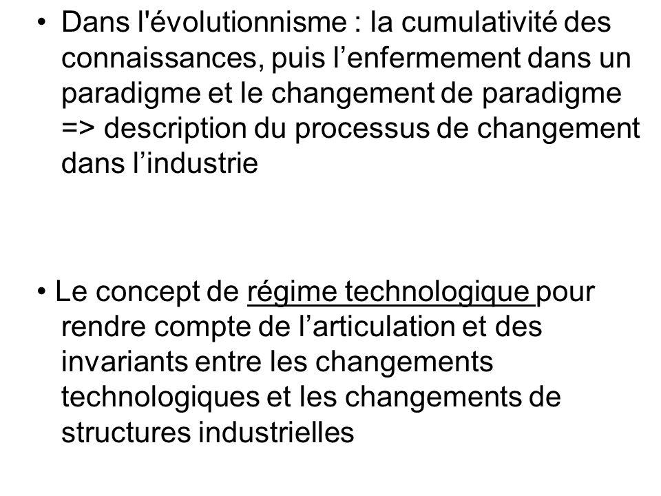 Dans l'évolutionnisme : la cumulativité des connaissances, puis lenfermement dans un paradigme et le changement de paradigme => description du process