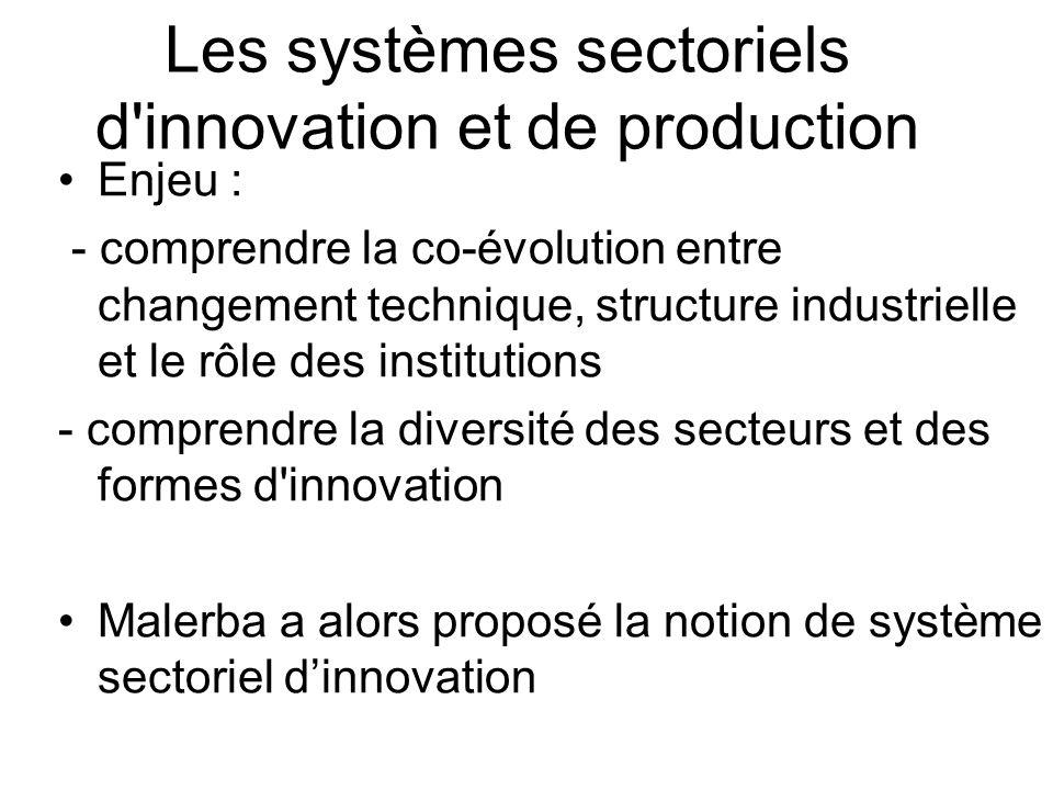 Les systèmes sectoriels d'innovation et de production Enjeu : - comprendre la co-évolution entre changement technique, structure industrielle et le rô