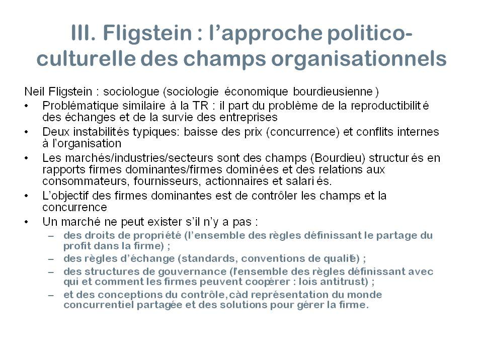 III. Fligstein : lapproche politico- culturelle des champs organisationnels