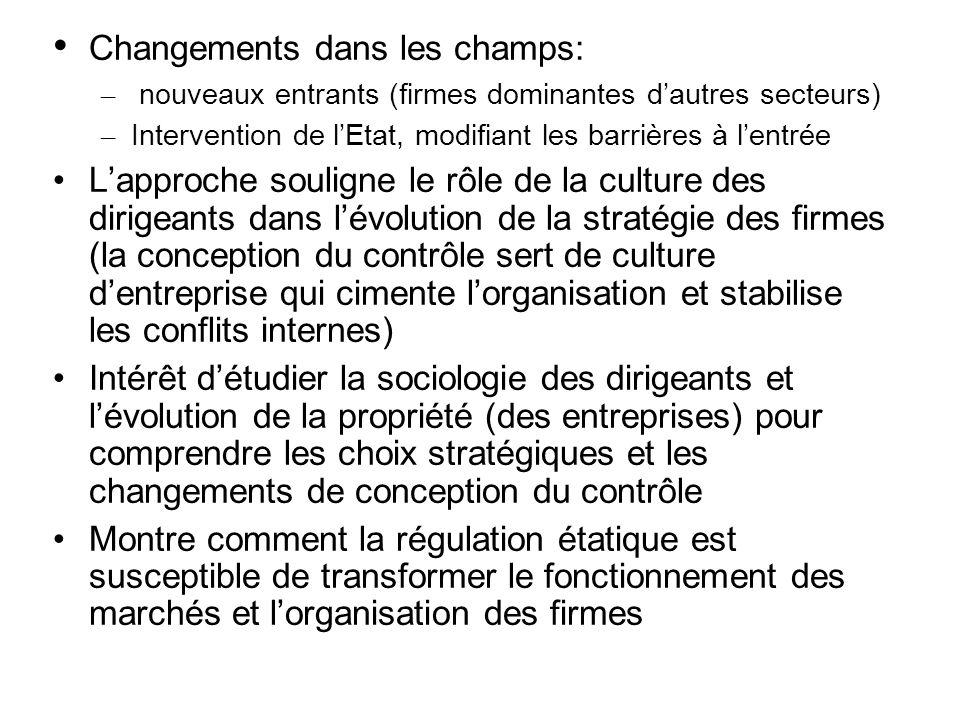 Changements dans les champs: – nouveaux entrants (firmes dominantes dautres secteurs) – Intervention de lEtat, modifiant les barrières à lentrée Lappr