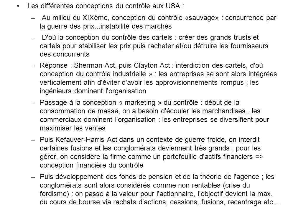 Les différentes conceptions du contrôle aux USA : – Au milieu du XIXème, conception du contrôle «sauvage» : concurrence par la guerre des prix...insta