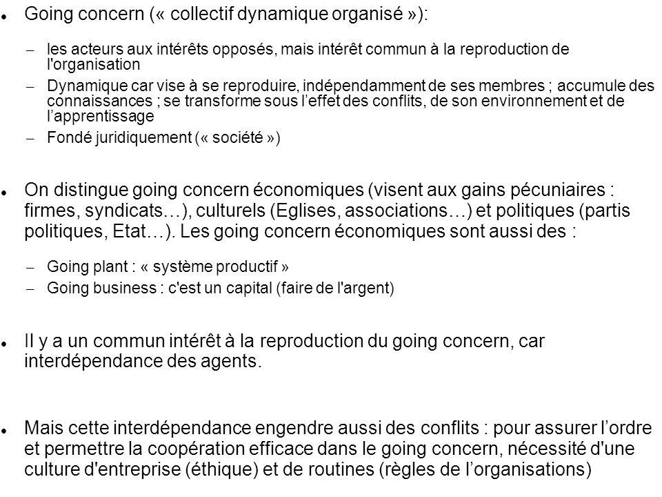 Going concern (« collectif dynamique organisé »): – les acteurs aux intérêts opposés, mais intérêt commun à la reproduction de l'organisation – Dynami