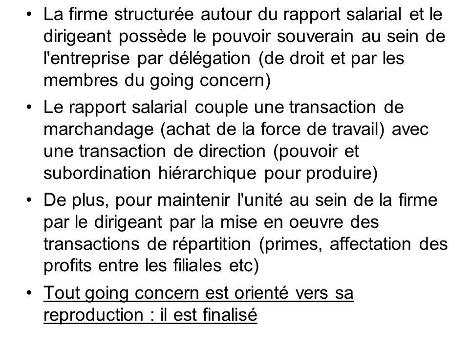 La firme structurée autour du rapport salarial et le dirigeant possède le pouvoir souverain au sein de l'entreprise par délégation (de droit et par le