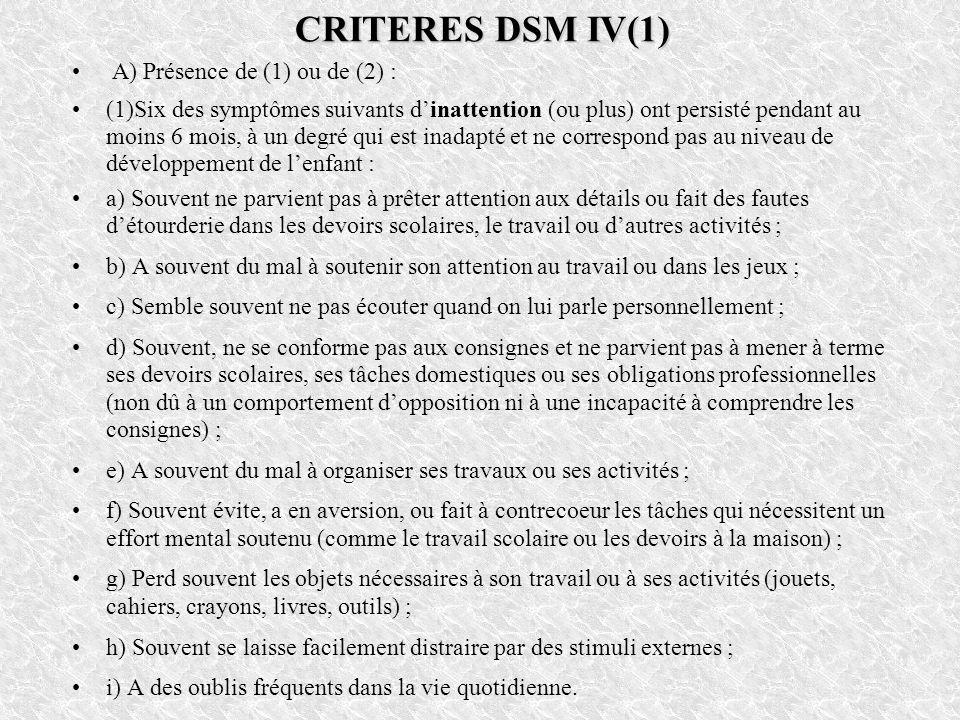 CRITERES DSM IV(1) A) Présence de (1) ou de (2) : (1)Six des symptômes suivants dinattention (ou plus) ont persisté pendant au moins 6 mois, à un degr