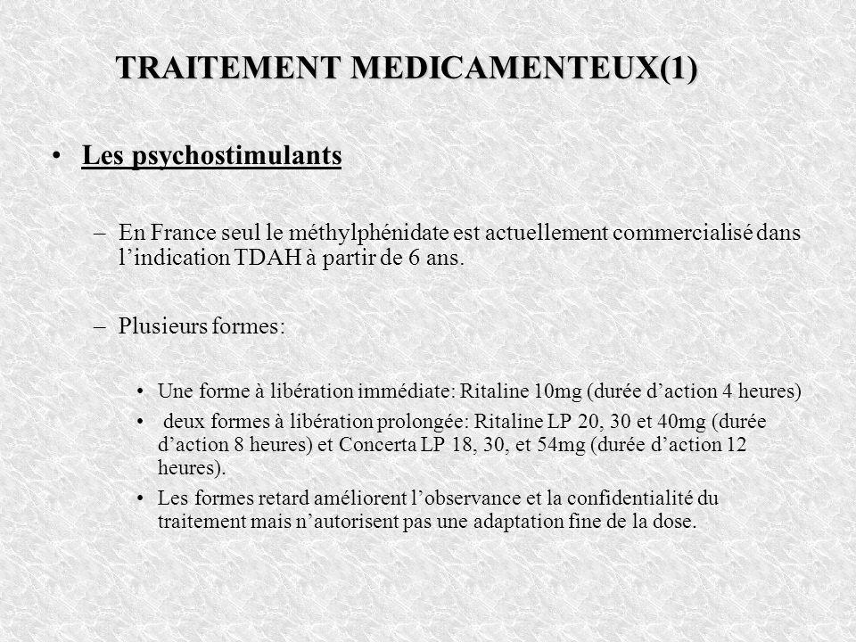 TRAITEMENT MEDICAMENTEUX(1) Les psychostimulants –En France seul le méthylphénidate est actuellement commercialisé dans lindication TDAH à partir de 6