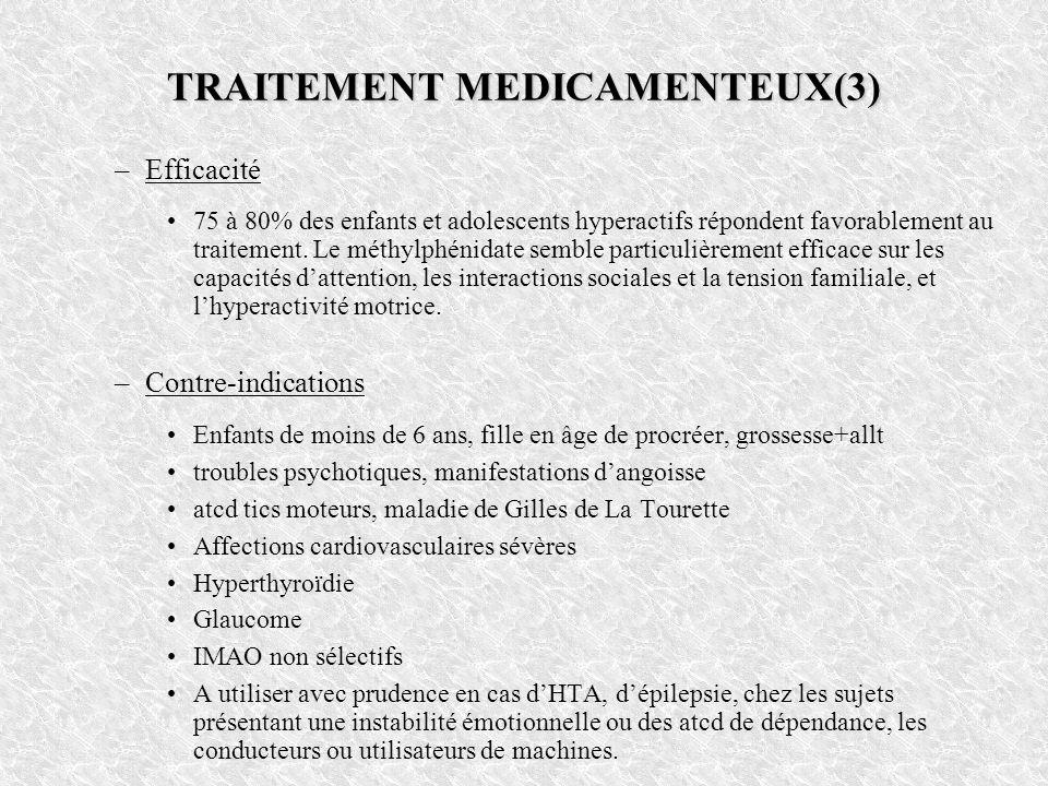 TRAITEMENT MEDICAMENTEUX(3) –Efficacité 75 à 80% des enfants et adolescents hyperactifs répondent favorablement au traitement. Le méthylphénidate semb