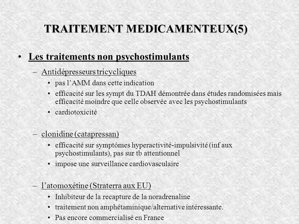 TRAITEMENT MEDICAMENTEUX(5) Les traitements non psychostimulants –Antidépresseurs tricycliques pas lAMM dans cette indication efficacité sur les sympt