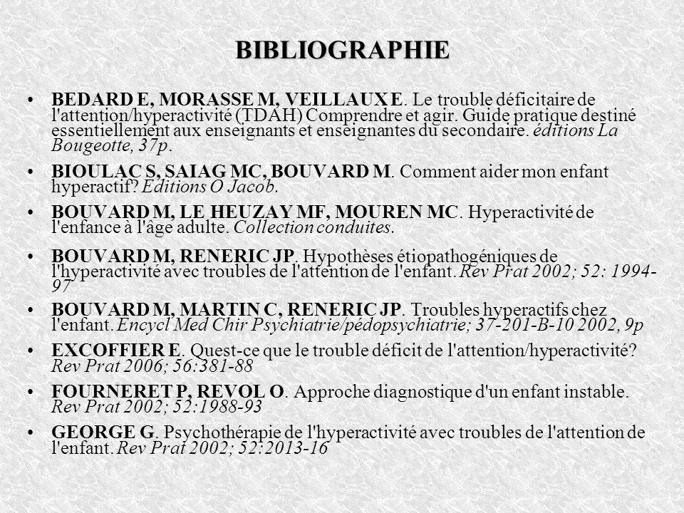 BIBLIOGRAPHIE BEDARD E, MORASSE M, VEILLAUX E. Le trouble déficitaire de l'attention/hyperactivité (TDAH) Comprendre et agir. Guide pratique destiné e