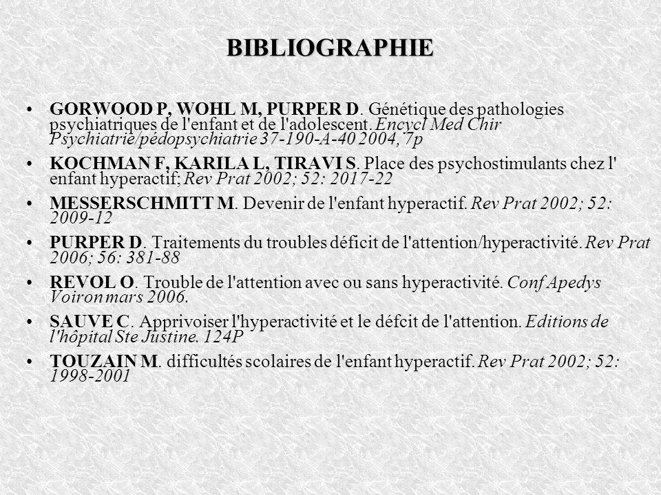 BIBLIOGRAPHIE GORWOOD P, WOHL M, PURPER D. Génétique des pathologies psychiatriques de l'enfant et de l'adolescent. Encycl Med Chir Psychiatrie/pédops