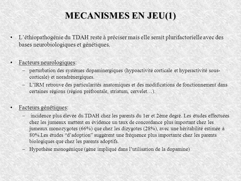 MECANISMES EN JEU(1) Léthiopathogénie du TDAH reste à préciser mais elle serait plurifactorielle avec des bases neurobiologiques et génétiques. Facteu