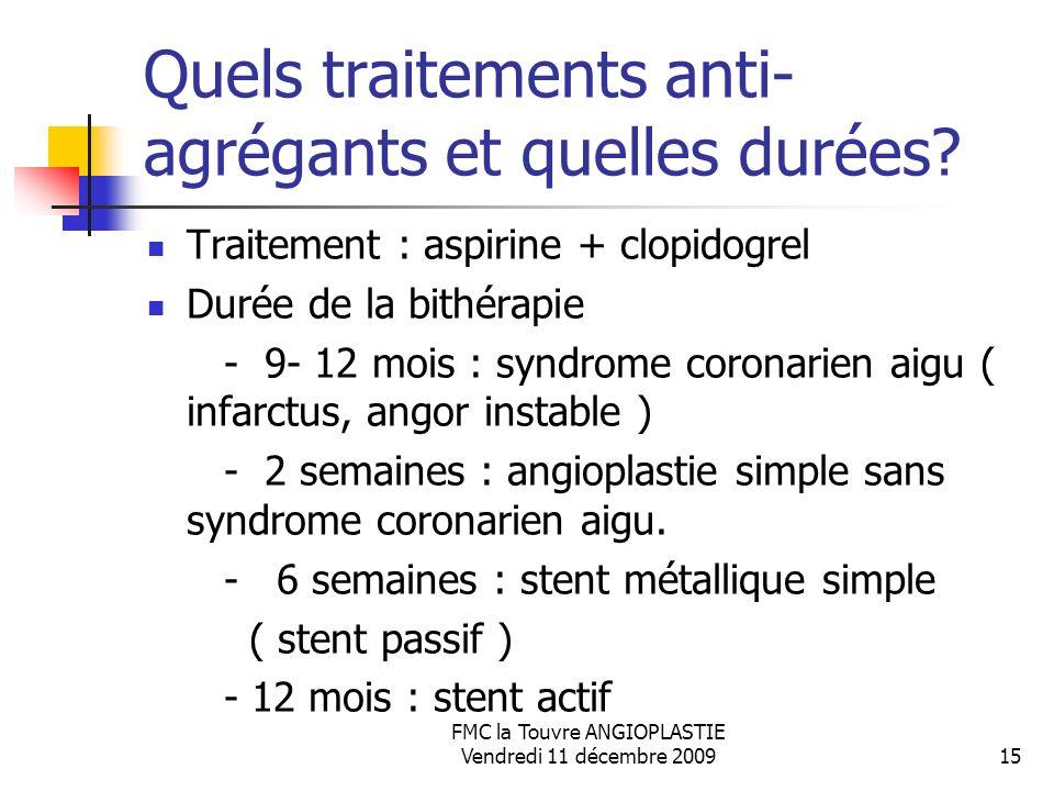 FMC la Touvre ANGIOPLASTIE Vendredi 11 décembre 200915 Quels traitements anti- agrégants et quelles durées? Traitement : aspirine + clopidogrel Durée