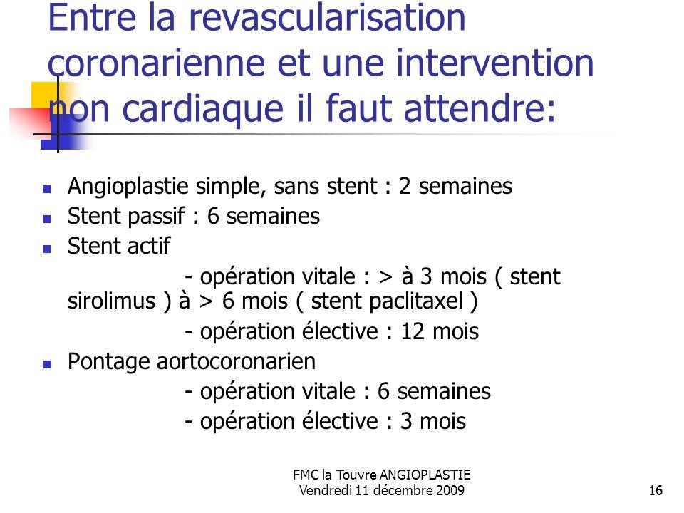 FMC la Touvre ANGIOPLASTIE Vendredi 11 décembre 200916 Entre la revascularisation coronarienne et une intervention non cardiaque il faut attendre: Ang