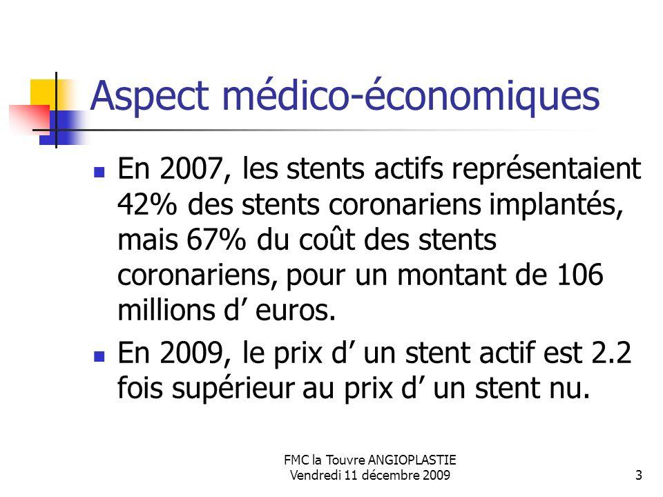 FMC la Touvre ANGIOPLASTIE Vendredi 11 décembre 20093 Aspect médico-économiques En 2007, les stents actifs représentaient 42% des stents coronariens i