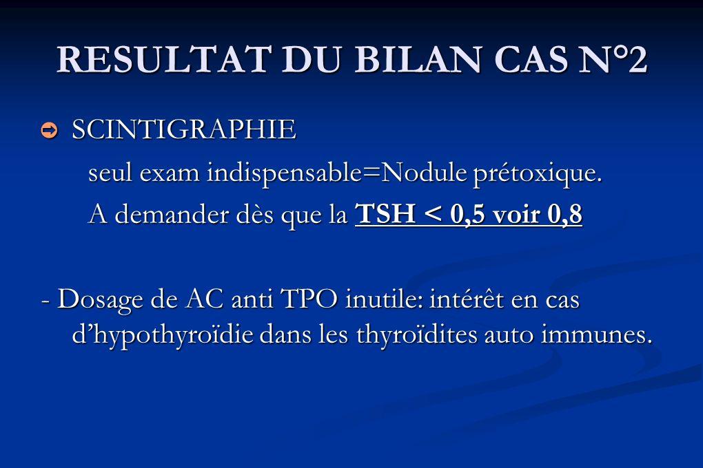RESULTAT DU BILAN CAS N°2 SCINTIGRAPHIE SCINTIGRAPHIE seul exam indispensable=Nodule prétoxique. A demander dès que la TSH < 0,5 voir 0,8 - Dosage de